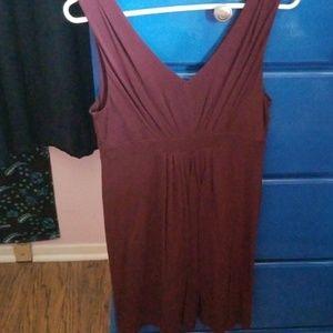 Maroon V-neck Dress